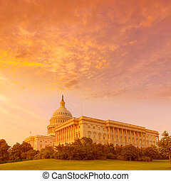 bygning capitolium, washington washington. dc., solnedgang,...