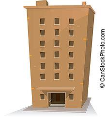 bygning, cartoon