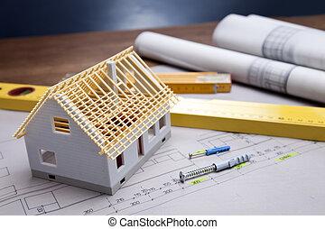 bygning, hen, redskaberne, blueprints