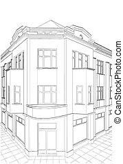 bygning, hjørne, beboelses, hus