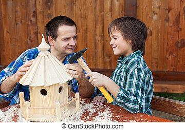bygning, hus, far, sammen, søn, fugl