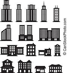 bygning, hvid, sort