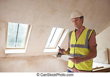 bygning, inspektør, kigge hos, ny egendom