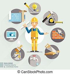 bygning, konsulenter, contractors., og