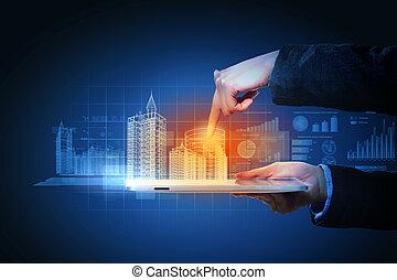 bygning, manipulation, konstruktion, automatisering