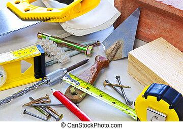 bygning, redskaberne, og, arbejdsmateriale