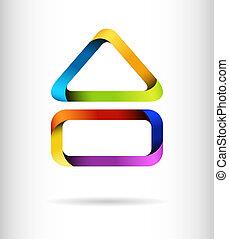 bygning, regnbue, begreb, konstruktion