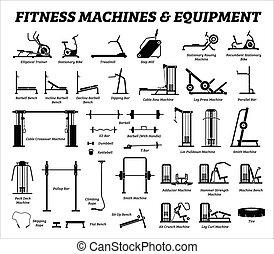 bygning, sæt, cardio, equipments, maskiner, gym., duelighed, muskel