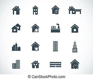 bygning, sæt, sort, vektor, iconerne