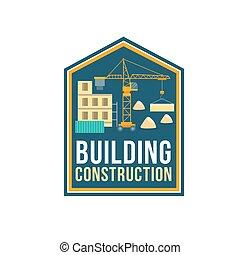 bygning, selskab, konstruktion, emblem, site