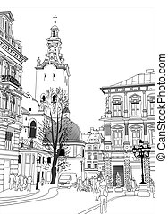 bygning, skitse, illustration, lviv, vektor, historical