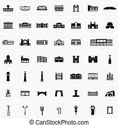 bygning, symboler