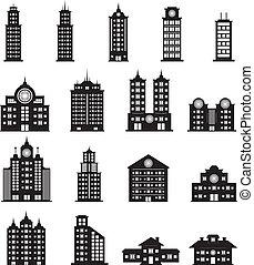 bygning, vektor, sæt