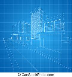 bygning, wireframe