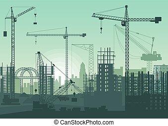 bygninger, kraner, site., konstruktion, under, tårn, construction.