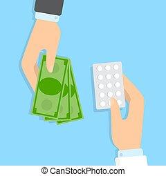 Bying medical pills in pharmacy concept illustration