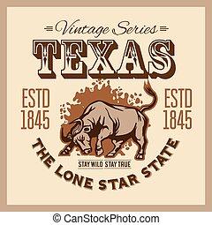 byk, longhorn, amerykanka, western, illustration., styl,...
