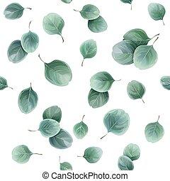bylinný, eukalypt, list, seamless, model