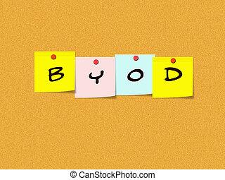 byod, sur, corkboard, à, notes collantes