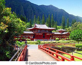 byodo-dans temple, bouddhiste, oahu, hawaï