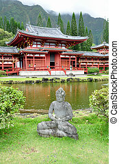 Byodo-In Buddhist Japanese Temple in the Valley of the...