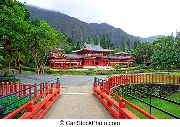 Byodo-In Temple in the Valley of the Temples, Oahu, Hawaii--...