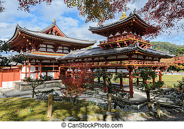 Beautiful architecture of Phoenix Hall with autumn color in Byodo-in temple which is a Buddhist temple in Uji city, Kyoto Prefecture, Japan