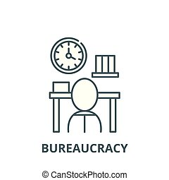 byrokracie, lineární, pojem, znak, firma, vektor, ikona,...