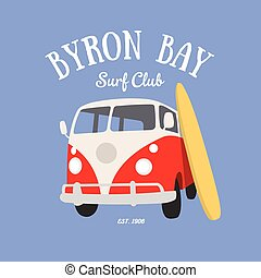 Byron Bay Surf Club t-shirt design vector illustration
