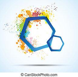bystrý, barvitý, grafické pozadí, s, šestiúhelník