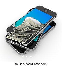 bystrý, telefon, s, peníze., proměnlivý, plat, concept.