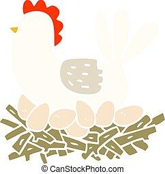byt, barva, hnízdo, ilustrace, karikatura, kuře obalit v rozšlehaných vejcích