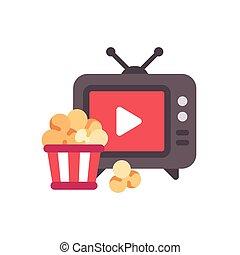 byt, dovádět, televize, knoflík, vědro, praená kukuřice, ikona