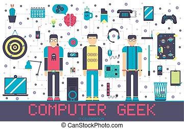 byt, echnology, dokola, úřadovna ikona, geeks, národ, ono, vektor, pracoviště, osvětlení, profesionál, vývojka, concept., set.