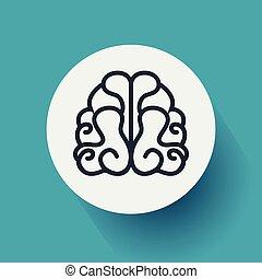 byt, eps10, ilustrace, mozek, vektor, řádka, icon., design.