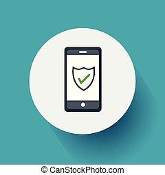 byt, eps10, proměnlivý, ilustrace, telefon, design, vektor, bezpečí, icon.