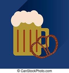 byt, ikona, s, dlouho, stín, barometr, pivo, a, snack