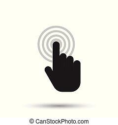 byt, illustration., knoflík, sem, rukopis, kurzor, vektor, čerň, icon., cvaknout, signs.