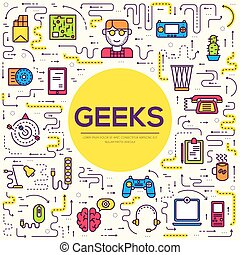 byt, pojem, nárys, úřadovna ikona, geeks, národ, ono, hubený, vektor, design, pracoviště, osvětlení, profesionál, řádka, vývojka, technika, set., dokola