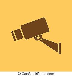 byt, pozorování, dozor, cctv, symbol., kamera, icon., bezpečí