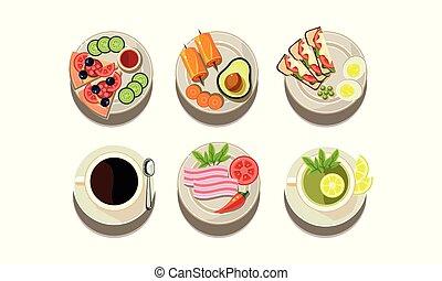 byt, vektor, dát, o, strava i kdy vypít, icons., stříbro, s, neobvyklý, nádobí, a, číše, s, čaj, a, coffee., horký, nápoje, a, jídlo