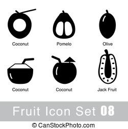byt, vektor, jednoduchý, lahodnost, ilustrace, ovoce,  design, ikona