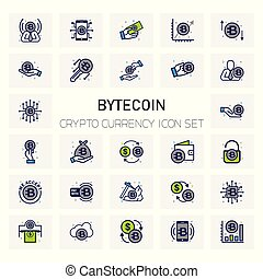 Byte Coin Crypto Currency icons set