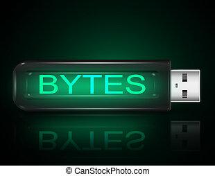 Byte concept. - Illustration depicting a usb flash drive...