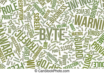 Byte, conceptual word cloud for business, information technology or IT.