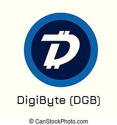 byte, vettore, (dgb)., digi, moneta, illustrazione, crypto