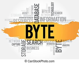 Byte word cloud collage, business concept background