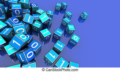 bytes - 3d illustration of binary cubes over blue background