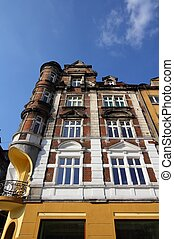 Bytom, Silesia region in Poland. Architecture in the city square (Rynek).