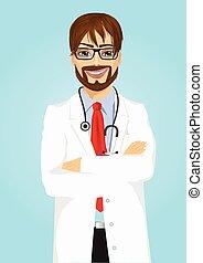bywały, przedstawianie, męski doktor